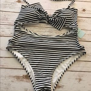 Cupshe striped one piece cut out bathing suit